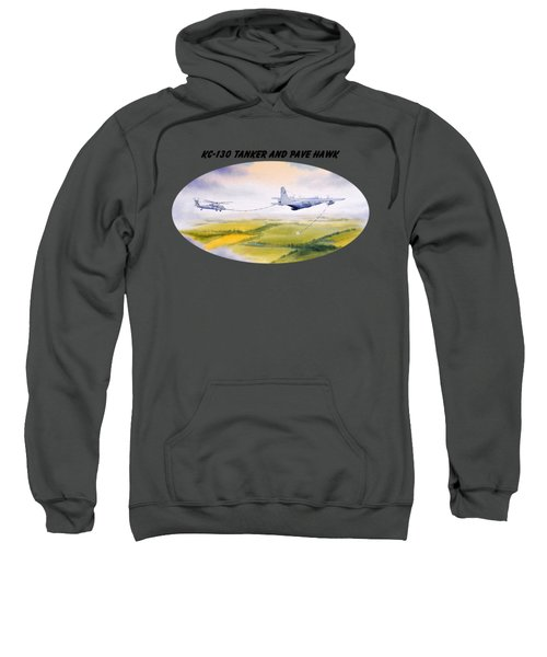Kc-130 Tanker Aircraft And Pave Hawk With Banner Sweatshirt by Bill Holkham