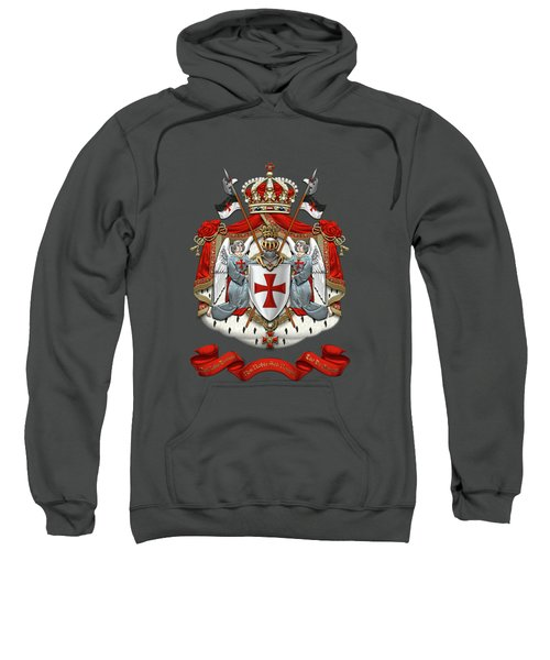 Knights Templar - Coat Of Arms Over Red Velvet Sweatshirt by Serge Averbukh