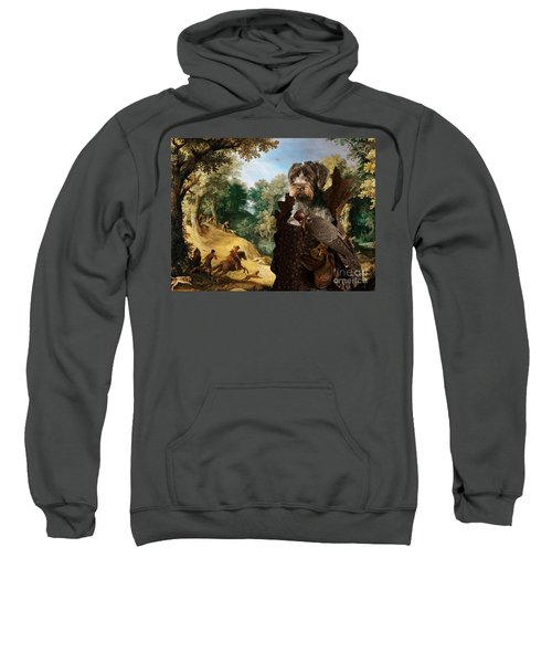 Korthals Pointing Griffon Art Canvas Print - The Hunters And Lady Falconer Sweatshirt