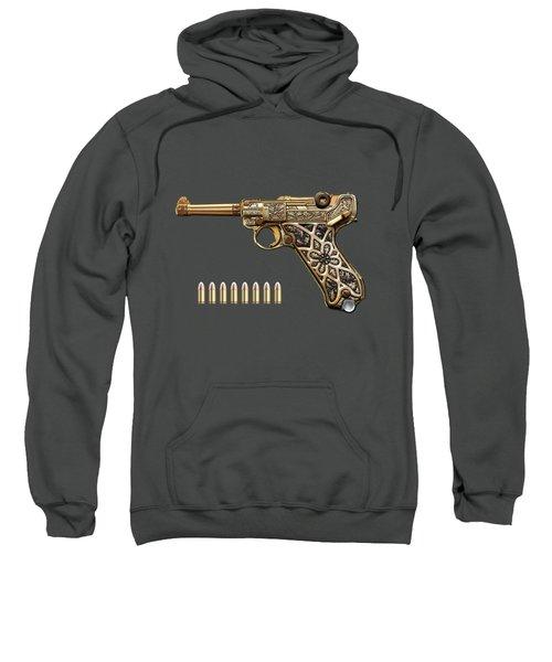 Krieghoff Presentation P.08 Luger With Ammo Over Red Velvet  Sweatshirt