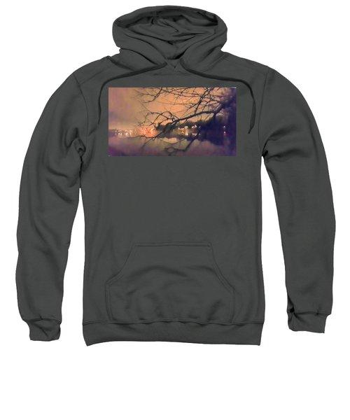 Foggy Lake At Night Through Branches Sweatshirt