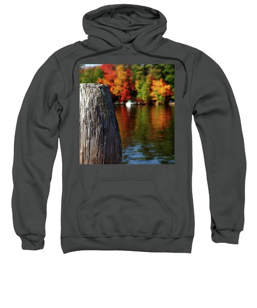 Lake Winnepesaukee Dock With Foliage In The Distance Sweatshirt