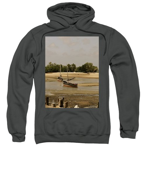 Lamu Island - Wooden Fishing Dhows At Low Tide With Pier - Antique Sweatshirt