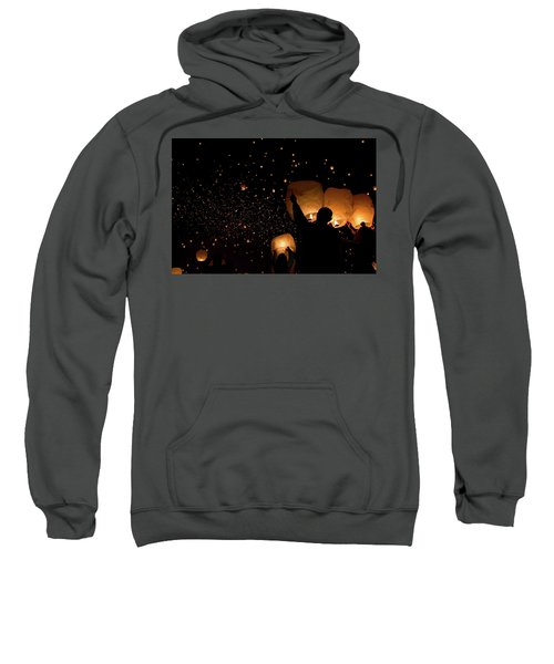 Sweatshirt featuring the photograph Lantern Fest Group by Stephen Holst