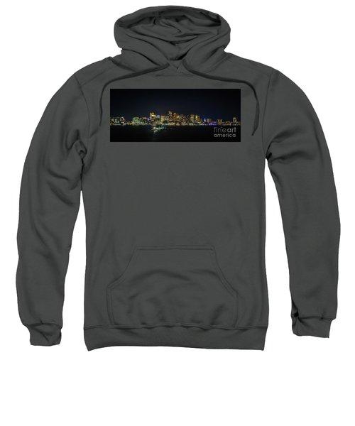 Large Panoramic Of Downtown Boston At Night Sweatshirt