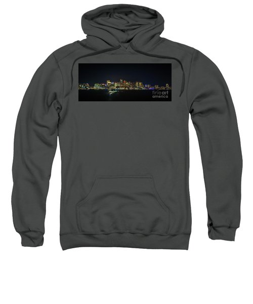 Large Panoramic Of Downtown Boston At Night Sweatshirt