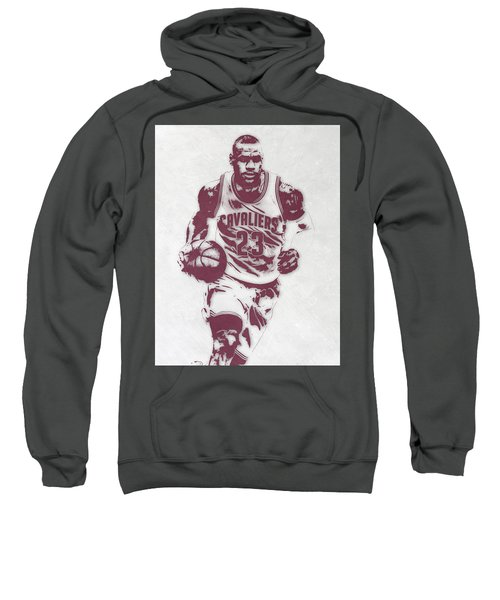 Lebron James Cleveland Cavaliers Pixel Art 4 Sweatshirt by Joe Hamilton