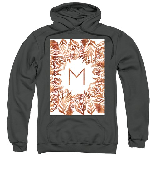 Letter M - Rose Gold Glitter Flowers Sweatshirt