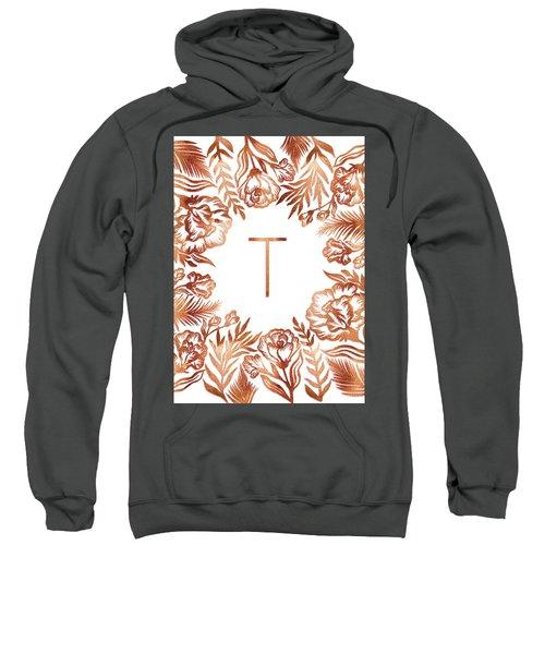 Letter T - Rose Gold Glitter Flowers Sweatshirt