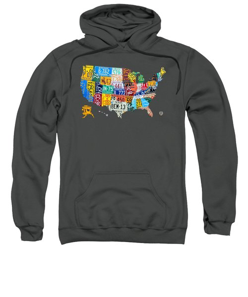 License Plate Map Of The United States Sweatshirt by Design Turnpike