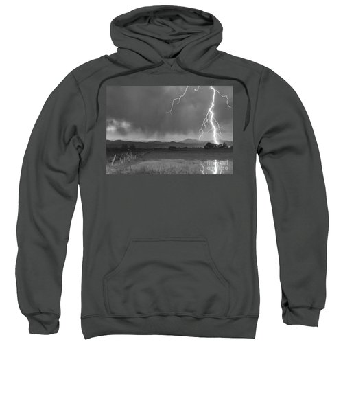 Lightning Striking Longs Peak Foothills 5bw Sweatshirt