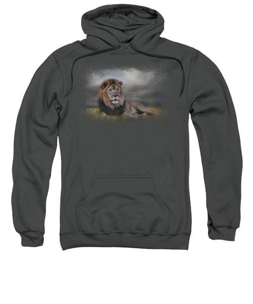 Lion Waiting For The Storm Sweatshirt by Jai Johnson