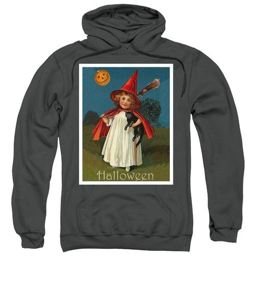 Little Witch Girl At Halloween Night Sweatshirt