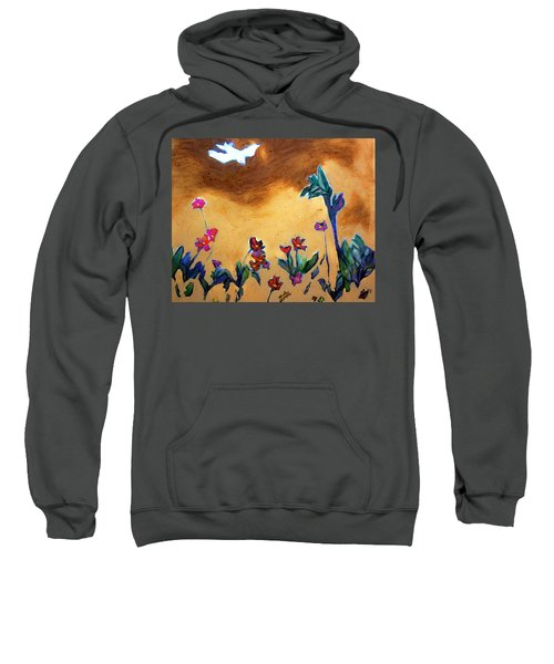 Sweatshirt featuring the painting Living Earth by Winsome Gunning