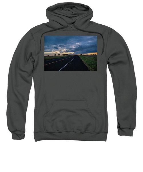Lone Highway At Sunset Sweatshirt