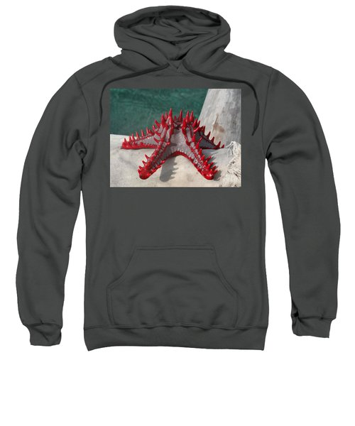 Lone Red Starfish On A Wooden Dhow 3 Sweatshirt