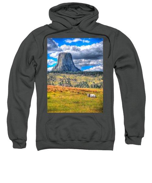 Longhorn At Devils Tower Sweatshirt