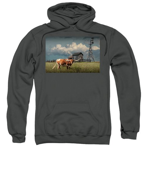 Longhorn Steer In A Prairie Pasture By Windmill And Old Gray Wooden Barn Sweatshirt