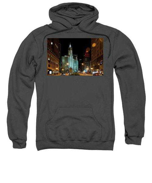 Looking North On Michigan Avenue At Wrigley Building Sweatshirt