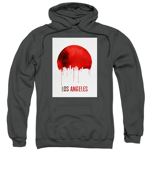 Los Angeles Skyline Red Sweatshirt by Naxart Studio