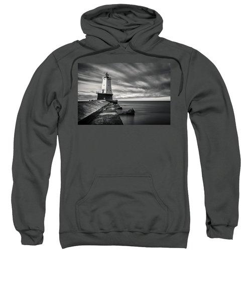 Sweatshirt featuring the photograph Ludington Light Black And White by Adam Romanowicz