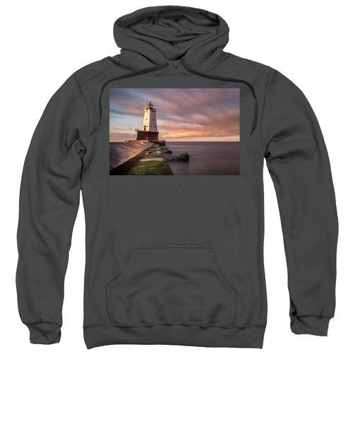 Sweatshirt featuring the photograph Ludington Light Sunrise Long Exposure by Adam Romanowicz