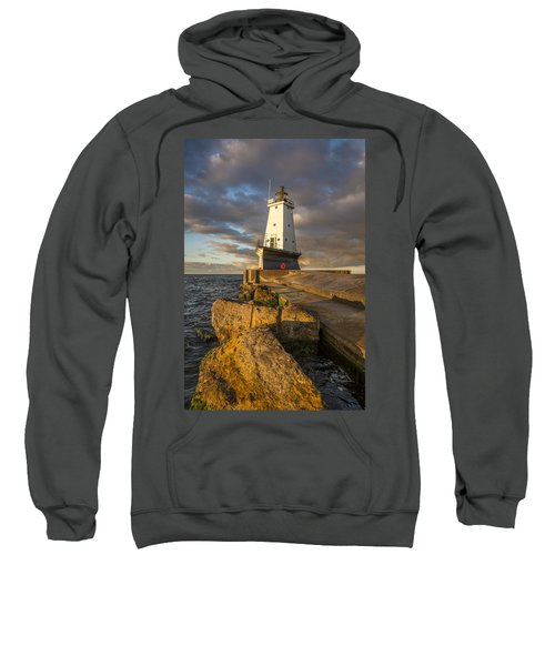 Sweatshirt featuring the photograph Ludington North Breakwater Lighthouse At Sunrise by Adam Romanowicz
