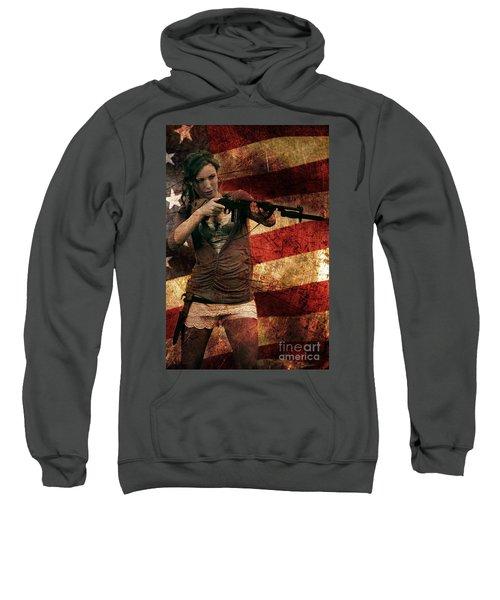 M1 Carbine On American Flag Sweatshirt
