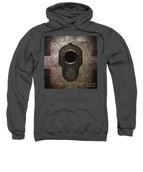 M1911 Muzzle On Rusted Riveted Metal Dark Sweatshirt