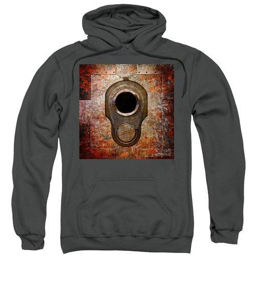 M1911 Muzzle On Rusted Riveted Metal Sweatshirt