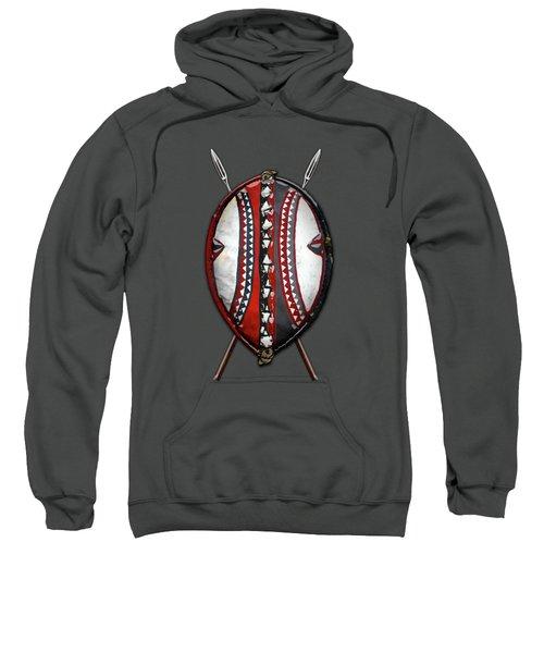 Maasai War Shield With Spears On Red Velvet  Sweatshirt