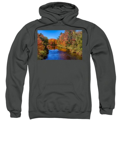 Maine Brook In Afternoon With Fall Color Reflection Sweatshirt