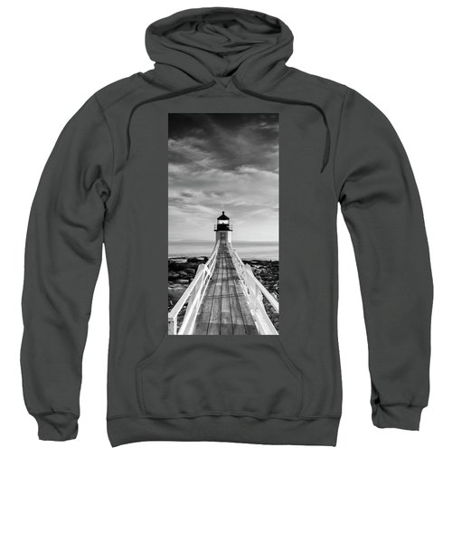 Maine Marshall Point Lighthouse Vertical Panorama In Black And White Sweatshirt