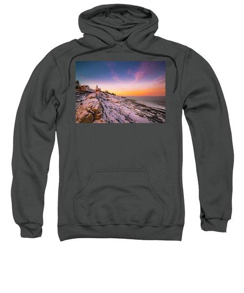 Maine Pemaquid Lighthouse In Winter Snow Sweatshirt