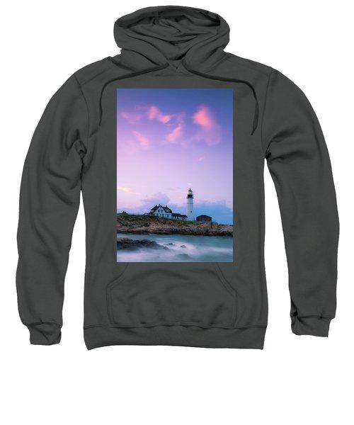 Maine Portland Headlight Lighthouse In Blue Hour Sweatshirt