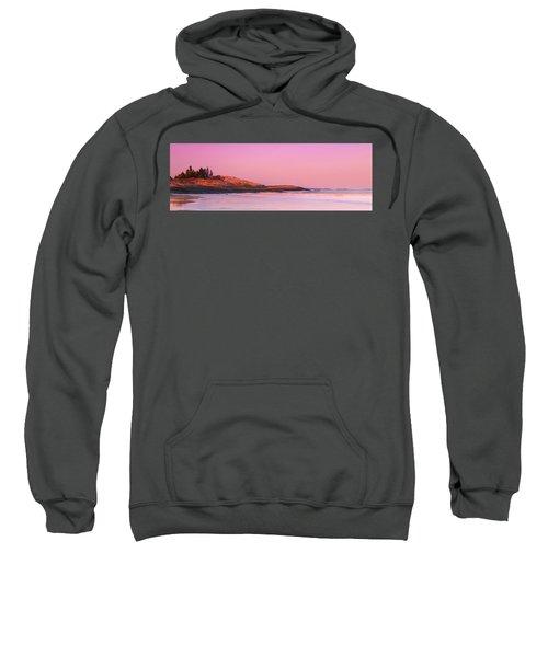 Maine Sheepscot River Bay With Cuckolds Lighthouse Sunset Panorama Sweatshirt