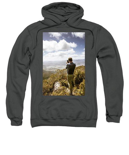 Male Tourist Taking Photo On Mountain Top Sweatshirt