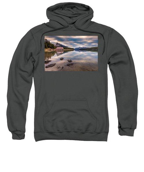 Maligne Lake Boat House Sunrise Sweatshirt