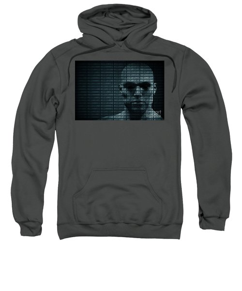 Man Face Blended With Binary Code Digits. Concept Of Hacker, Data Protection Etc. Sweatshirt
