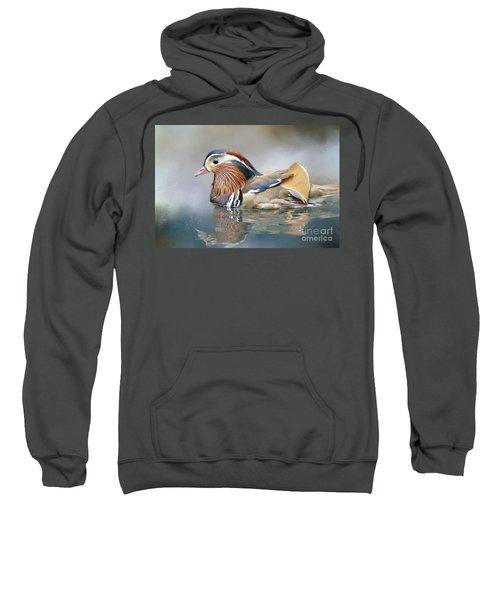Mandarin Duck Swimming Sweatshirt