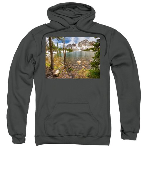 Medicine Bow Snowy Mountain Range Lake View Sweatshirt