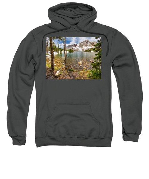 Medicine Bow Snowy Mountain Range Lake View Sweatshirt