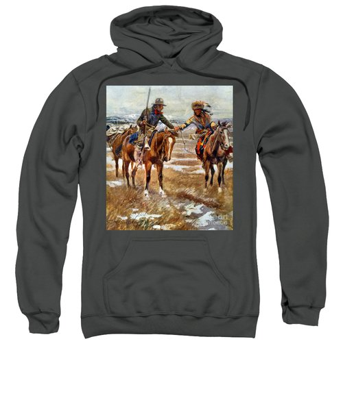 Men Shaking Hands On Horseback Sweatshirt