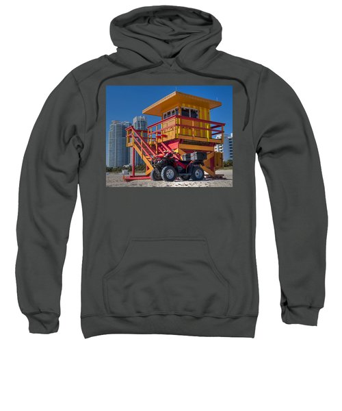 Miami Beach Lifeguard House Ocean Rescue Sweatshirt by Toby McGuire