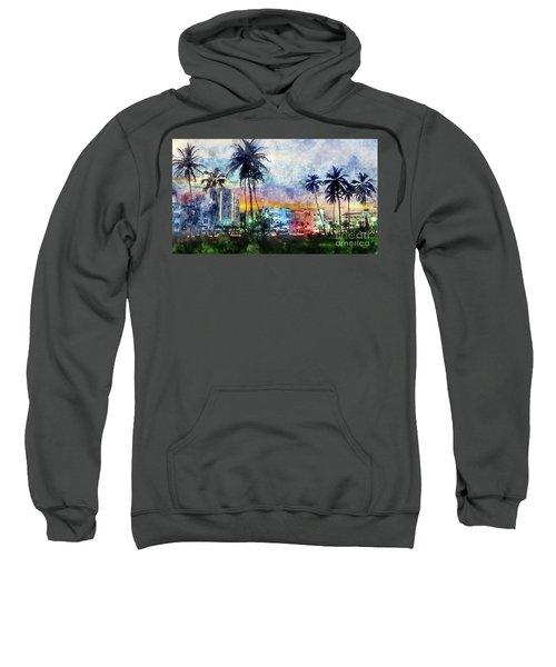 Miami Beach Watercolor Sweatshirt by Jon Neidert