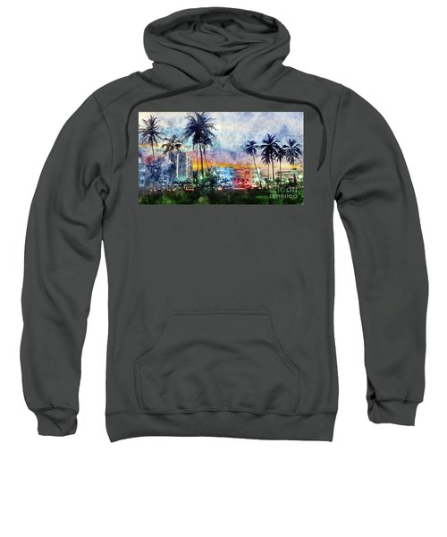 Miami Beach Watercolor Sweatshirt
