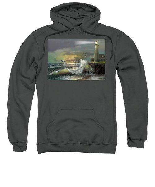 Michigan Seul Choix Point Lighthouse With An Angry Sea Sweatshirt