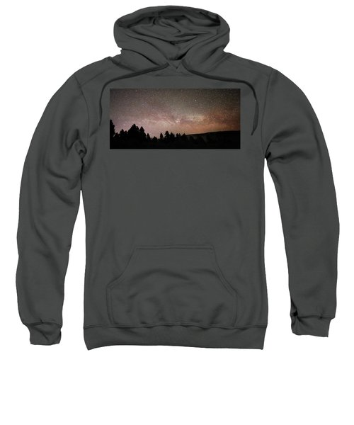 Milky Way Over Mammoth Hot Springs With Pink Glow From Aurora Borealis Sweatshirt