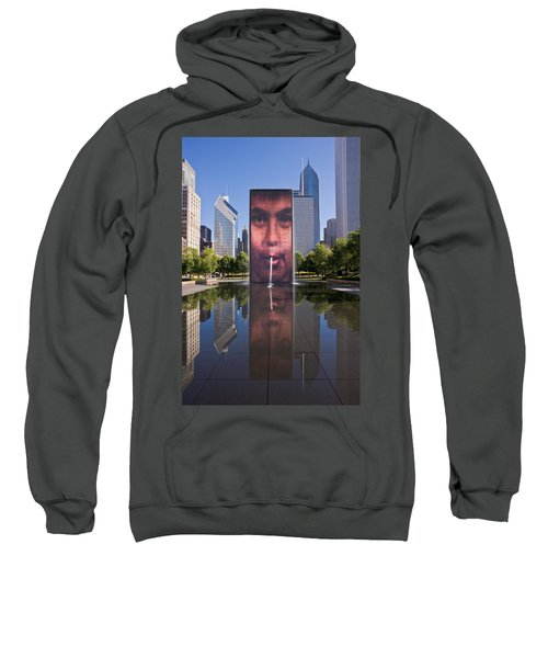 Millennium Park Fountain And Chicago Skyline Sweatshirt