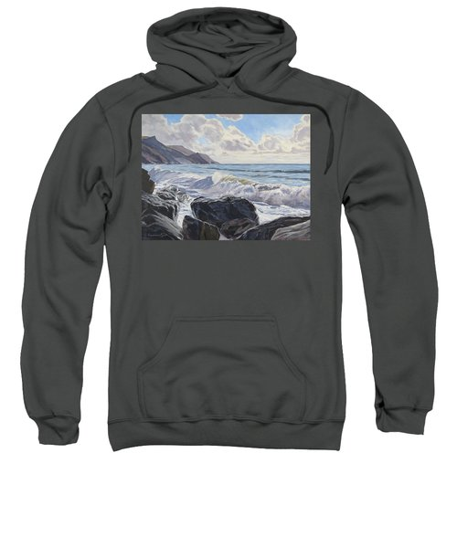 Sweatshirt featuring the painting Millook Haven by Lawrence Dyer